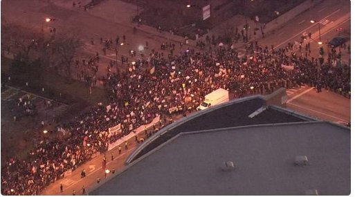 People outside UIC pavilion