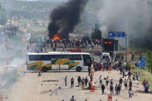 Citizens and Teachers Blockading Road